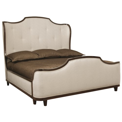 Bernhardt Miramont Customizable Queen Upholstered Sleigh Bed with Button Tufted Headboard