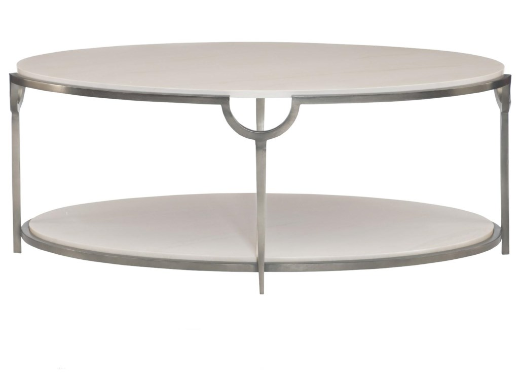 Bernhardt Morello Oval Cocktail Table With Faux Marble Top Darvin