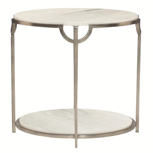 Bernhardt Morello Oval End Table with Faux Marble Top