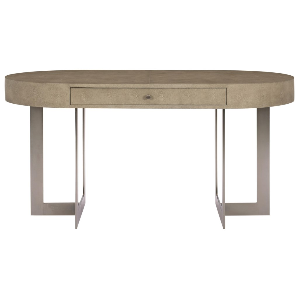Bernhardt Mosaic Oval Writing Desk With Stainless Steel Base