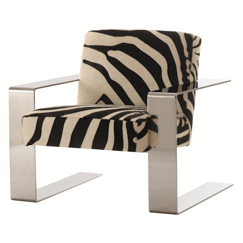 Bernhardt Connor Modern Chair with Chrome Metal Legs and Arms for Contemporary Style