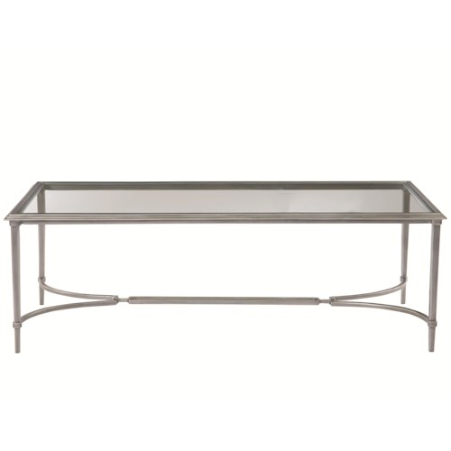 Bernhardt Newland Metal Cocktail Table with Tempered Glass Top