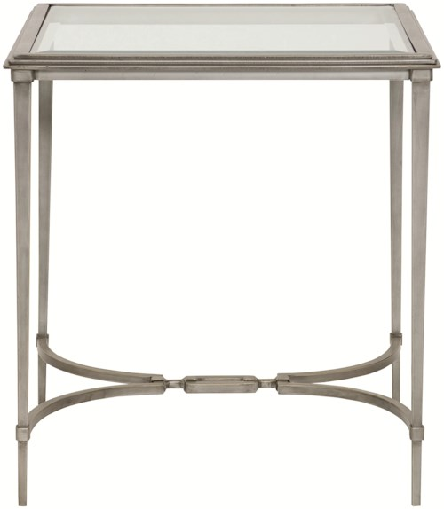 Bernhardt Newland Square End Table with Tempered Glass Top