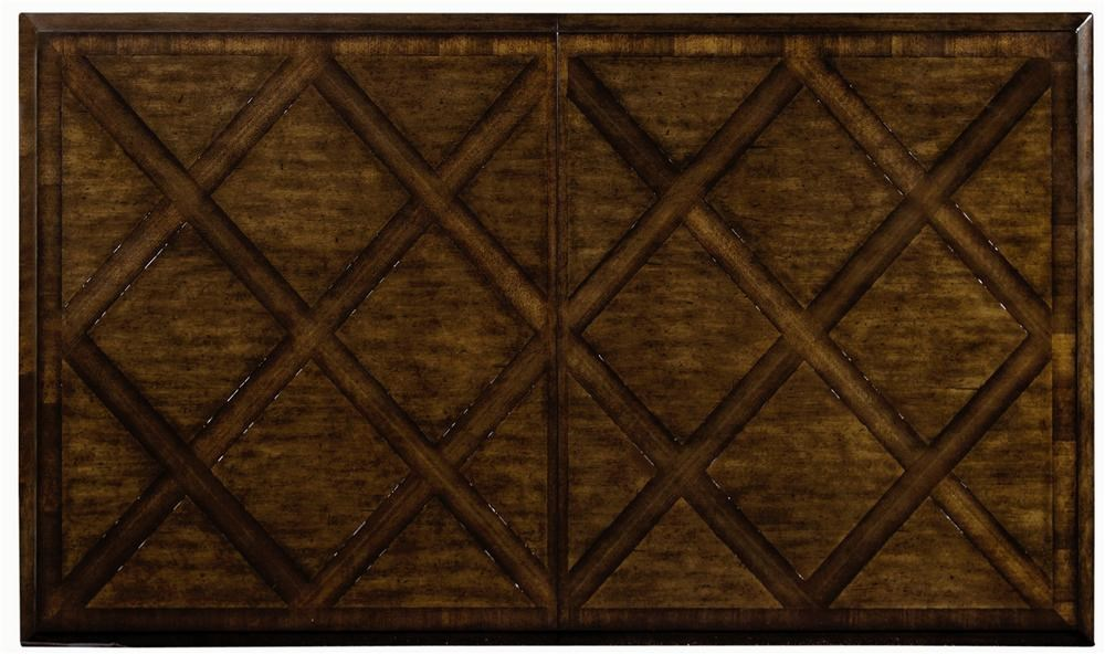 Distinctive Crossing Pattern On Table Top With Contrasting Pine And Walnut Veneers
