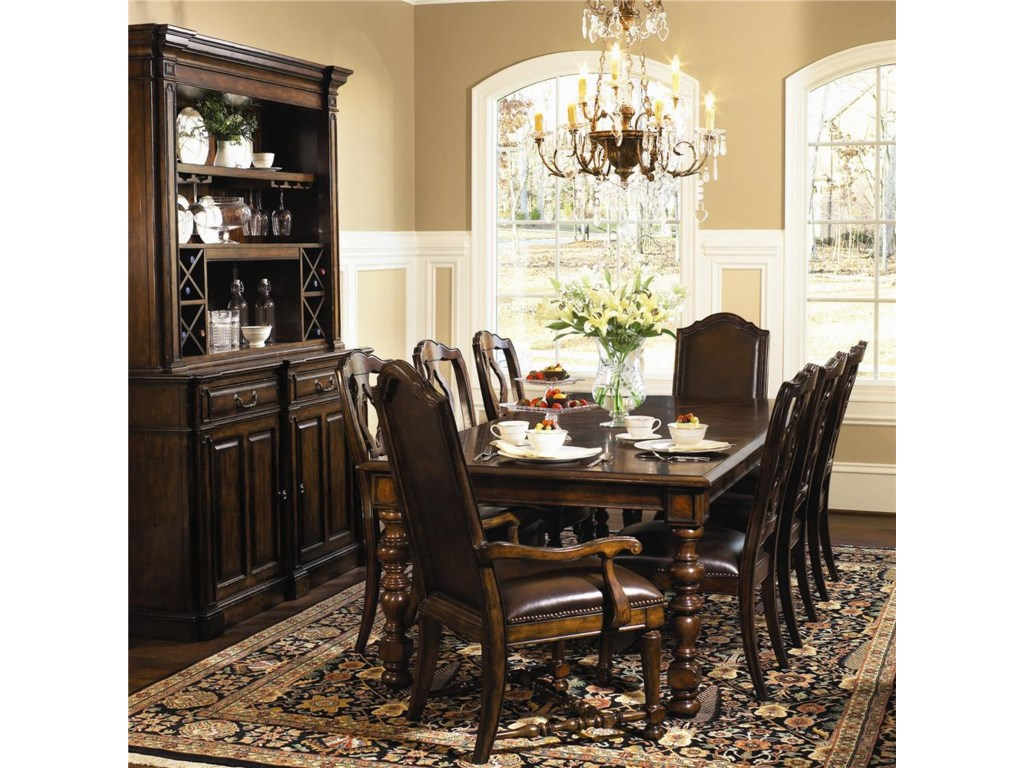 Shown With Server With Deck, Upholstered Side Chairs, and Upholstered Arm Chairs