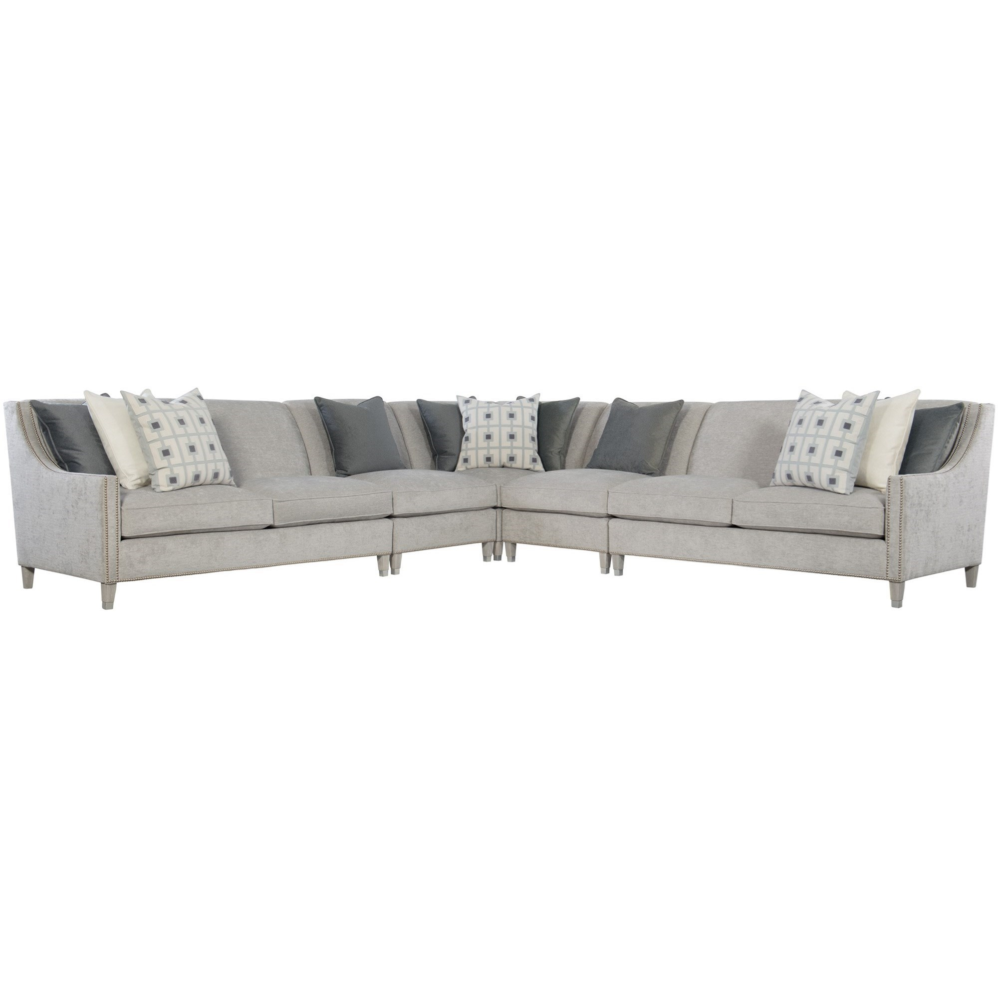 Picture of: Bernhardt Interiors Palisades Transitional 5 Piece Sectional With Nailhead Trim Howell Furniture Sectional Sofas