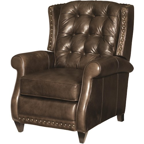 Bernhardt Pierce Transitional Recliner with Nailhead Accent and Back Button Tufting