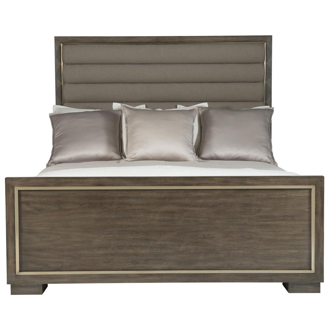 California King Panel Bed with Upholstered Headboard