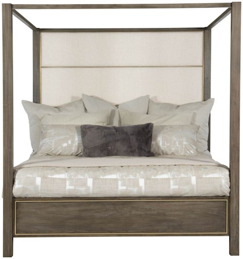 Bernhardt Profile King Poster Bed With Upholstered Headboard
