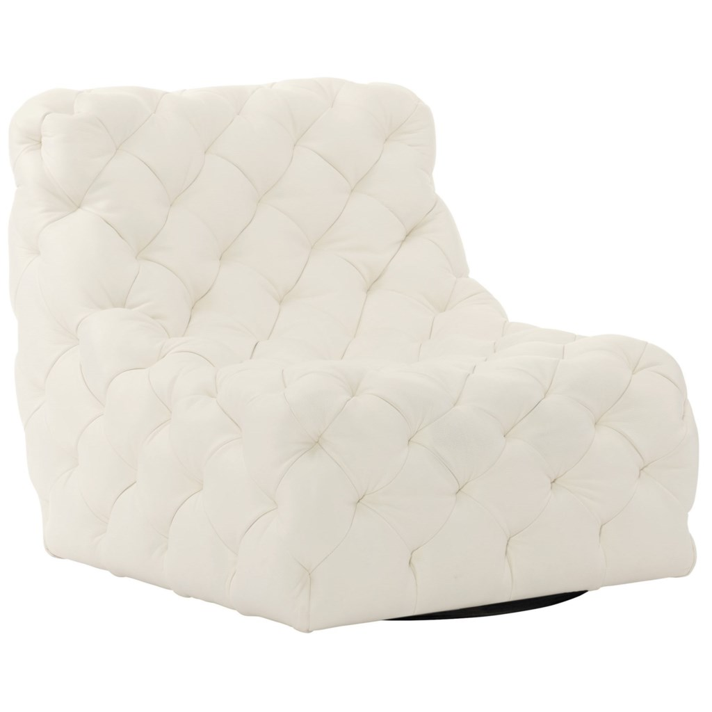 Bernhardt Rigby 360sl Armless Tufted Swivel Chair Dunk Bright