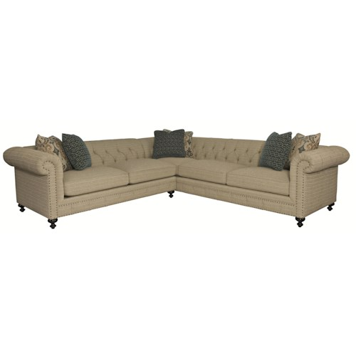 Bernhardt Riviera  Sectional with Rolled Arms and Tufted Back
