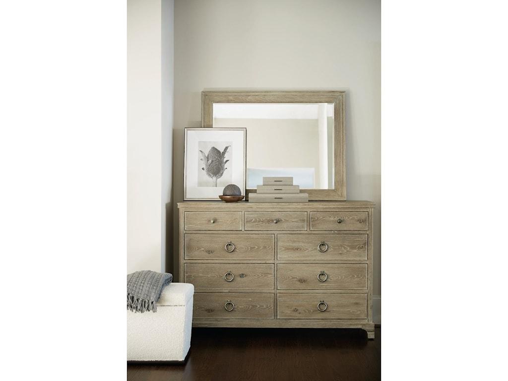 Bernhardt Rustic Patina9-Drawer Dresser and Mirror Set