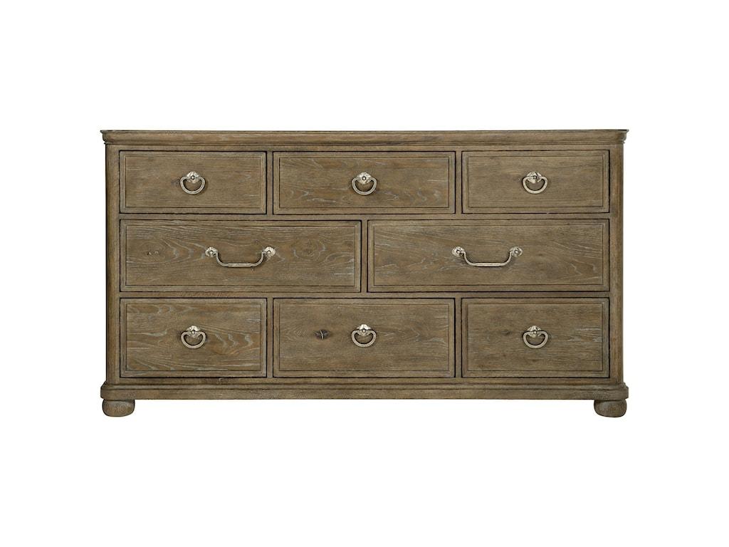 Bernhardt Rustic Patina8-Drawer Dresser and Mirror Set