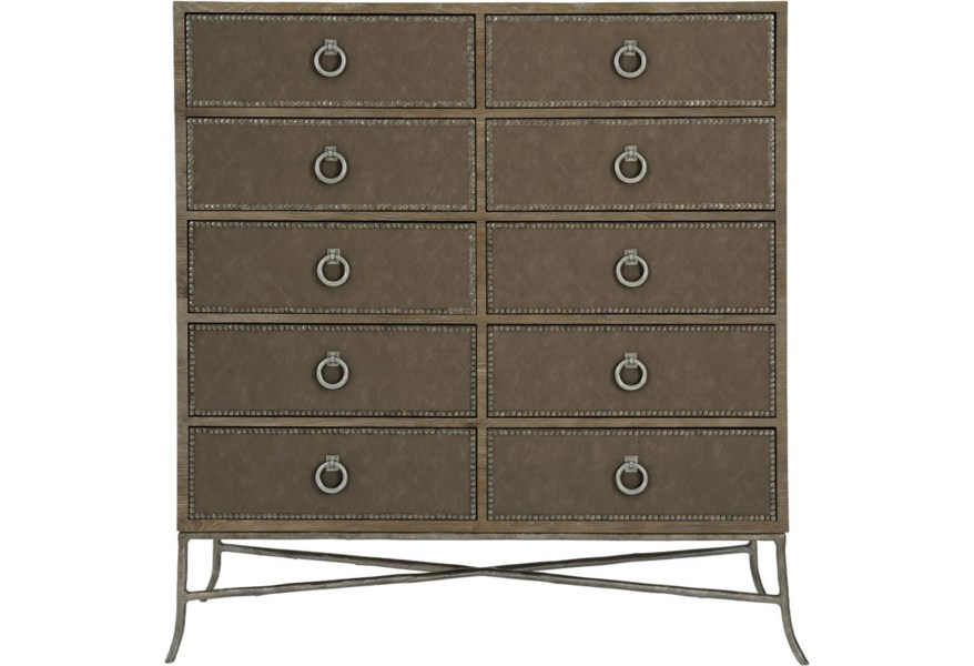 Bernhardt Rustic Patina Rustic Tall Chest With 10 Drawers And Nailhead Trim Sprintz Furniture Drawer Chests