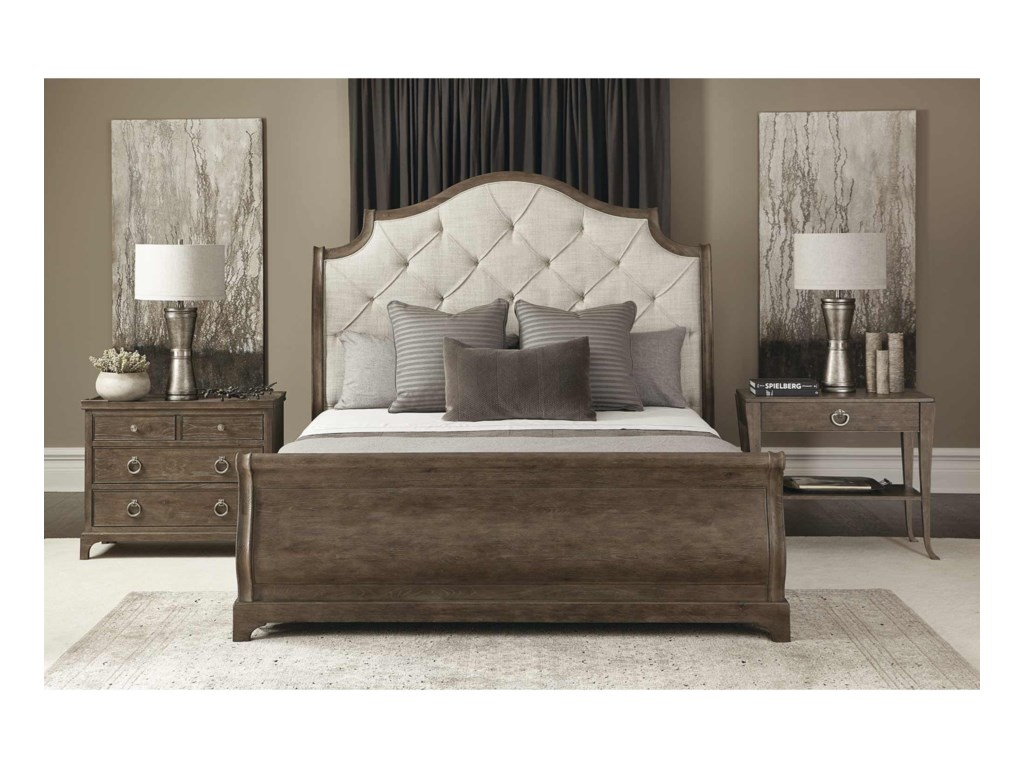Bernhardt Rustic PatinaCustomizable Queen Upholstered Bed