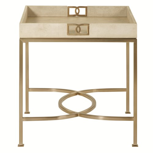 Bernhardt Salon Square Shagreen-Wrapped End Table with Metal Base
