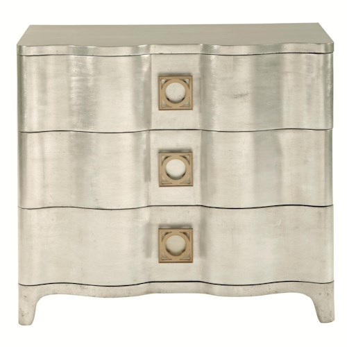 Bernhardt Salon 3 Drawer Nightstand with Scalloped Shaping