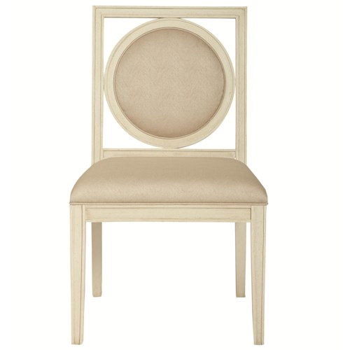 Bernhardt Salon Upholstered Dining Side Chair with Circular Wood-Framed Back