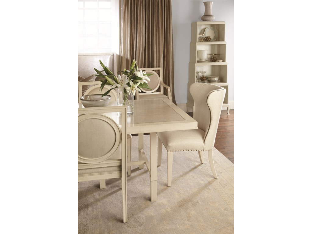 Shown with Rectangular Dining Table, Wing Chair, and Etagere