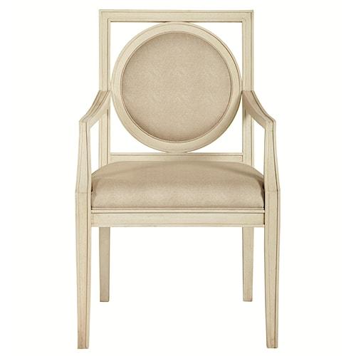 Bernhardt Salon Dining Arm Chair with Circular Wood-Framed Back