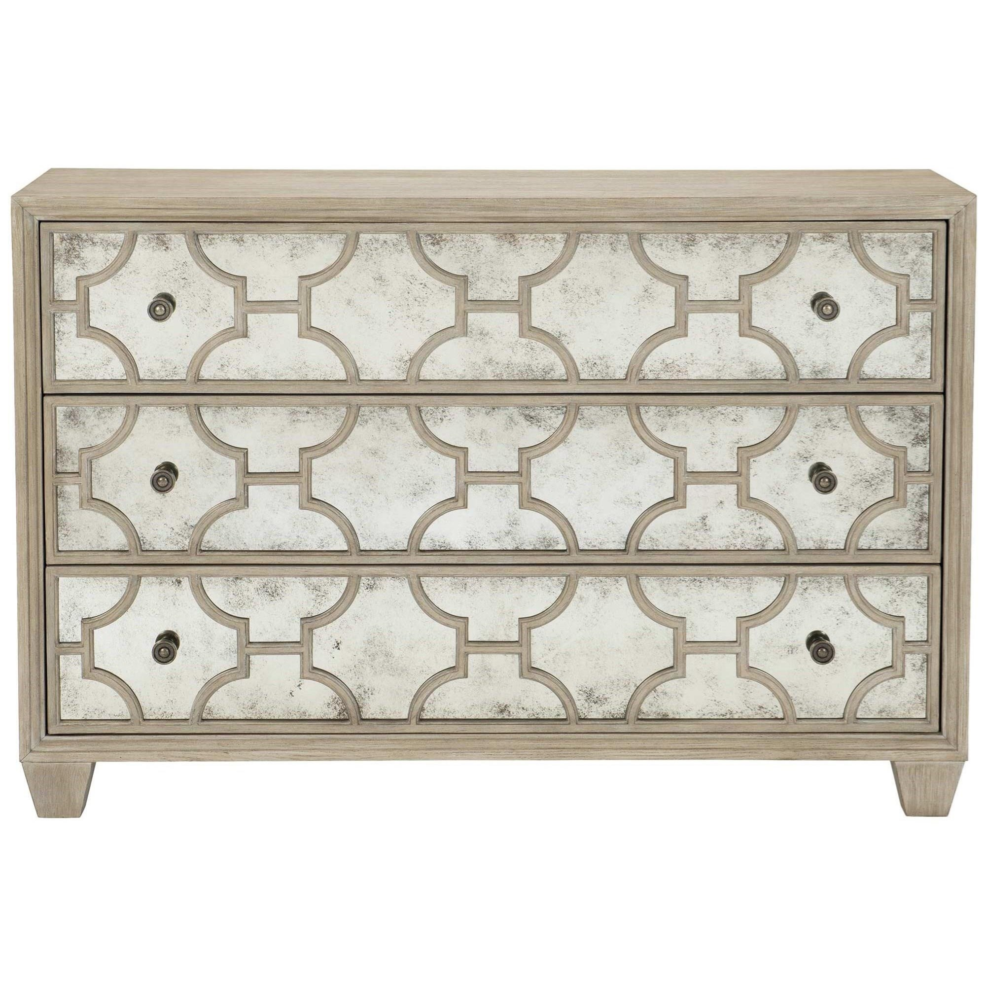 Transitional 3-Drawer Chest with Mirrored Fronts