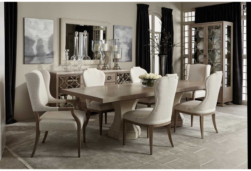 Bernhardt Santa Barbara 385 242 385 244 2x542 4x561 Transitional 7 Piece Table And Chair Set Baer S Furniture Dining 7 Or More Piece Sets