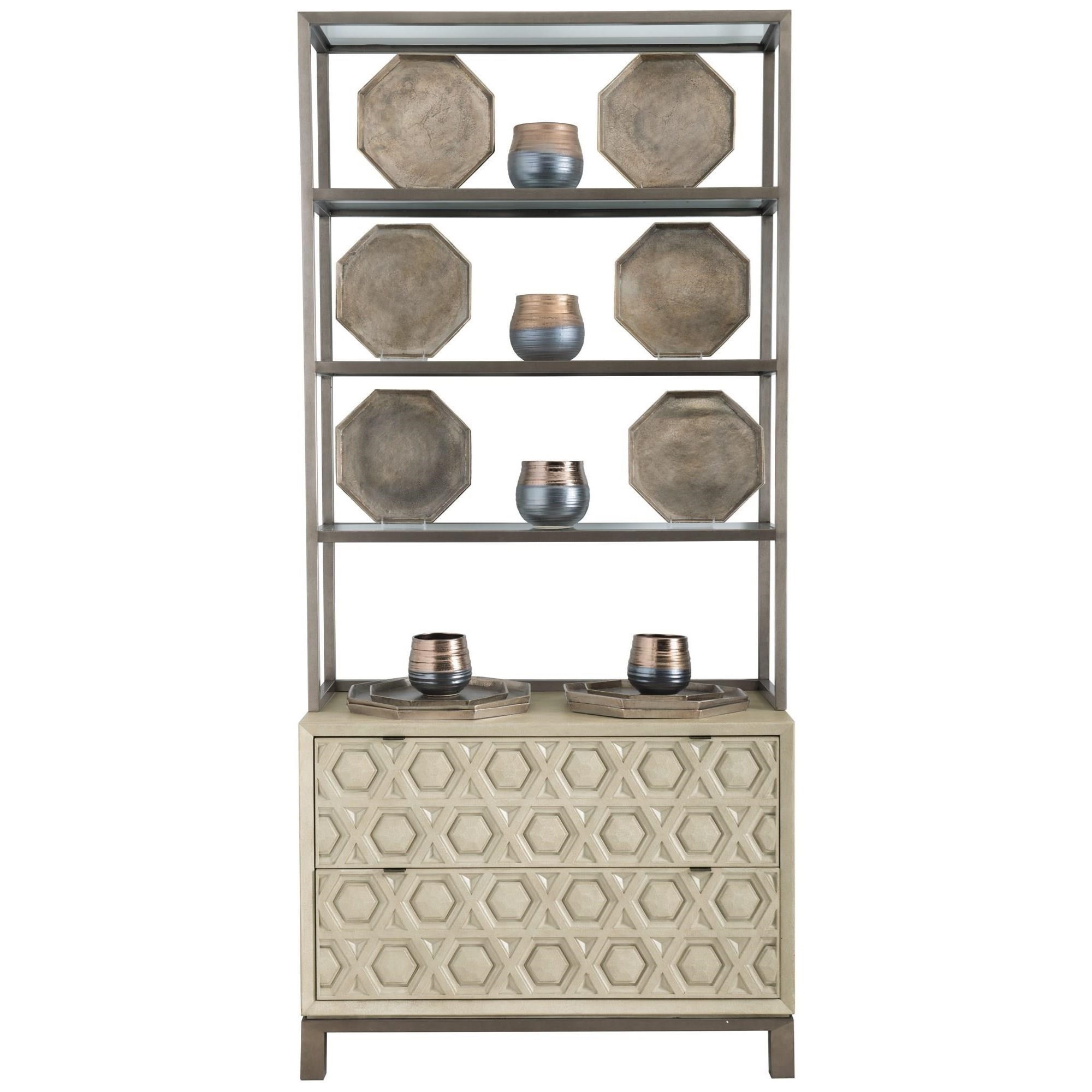 Transitional 2-Drawer Chest with Metal Deck