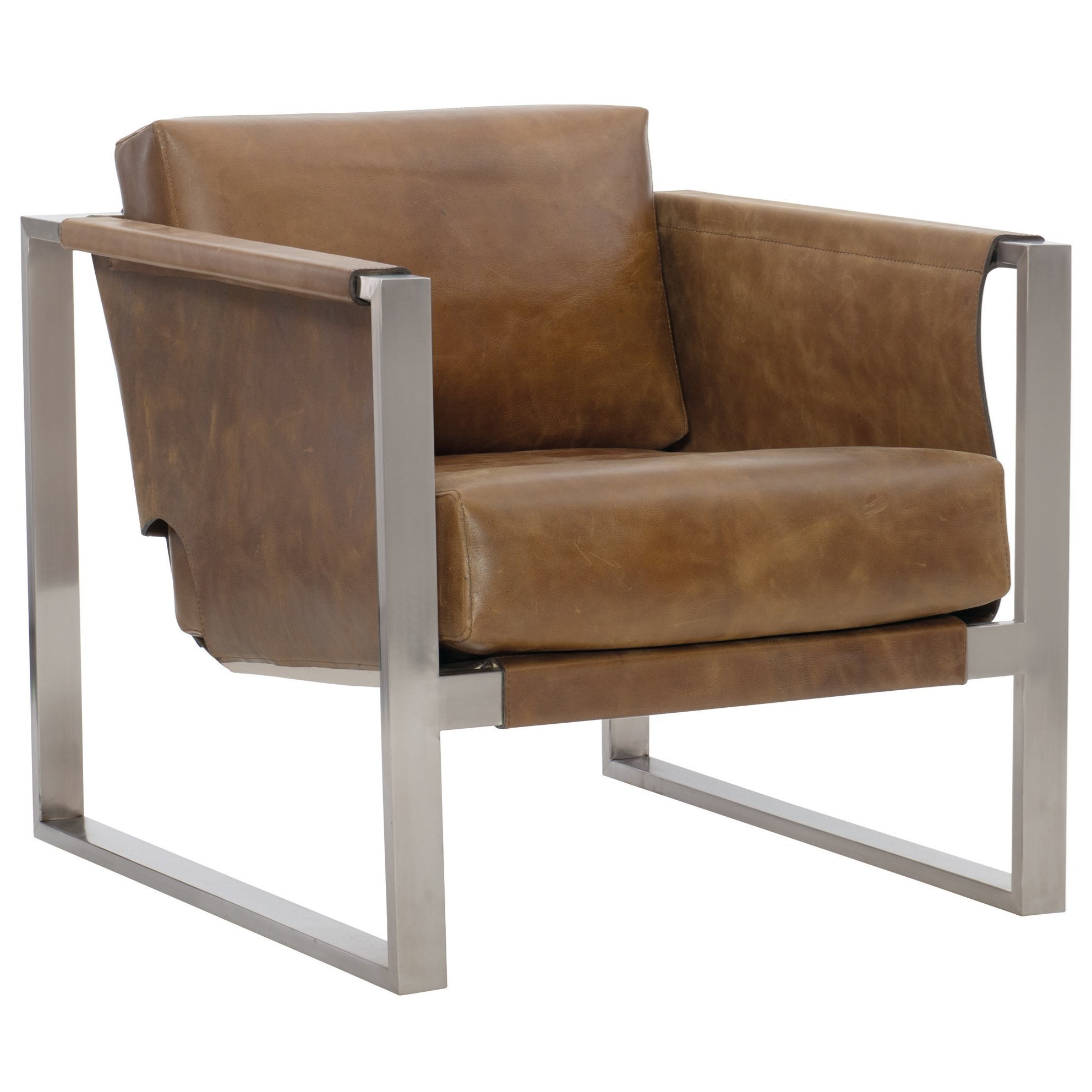 Bernhardt Segovia Contemporary Leather Chair With Metal Frame