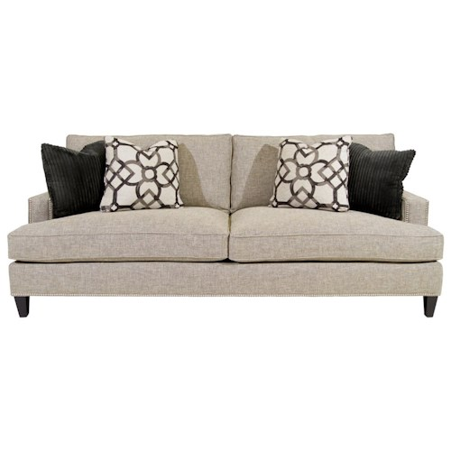 Bernhardt Signature Seating Two Seat Sofa with Track Arms and Nail Heads