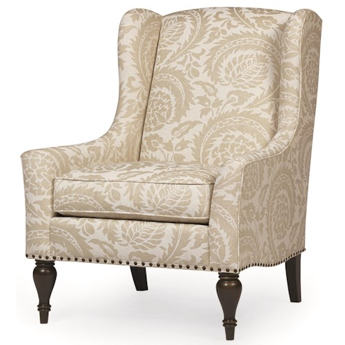 Bernhardt Sofia Transitional Upholstered Chair with Nailhead Accent and Exposed Wooden Legs