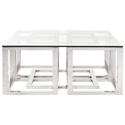 Bernhardt Soho Luxe Contemporary Metal Cocktail Table with Glass Top and Greek Key Design