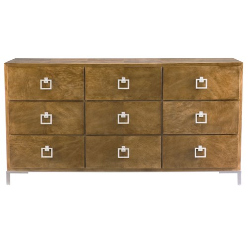 Bernhardt Soho Luxe Contemporary 9-Drawer Dresser with Polished Stainless Steel Pulls