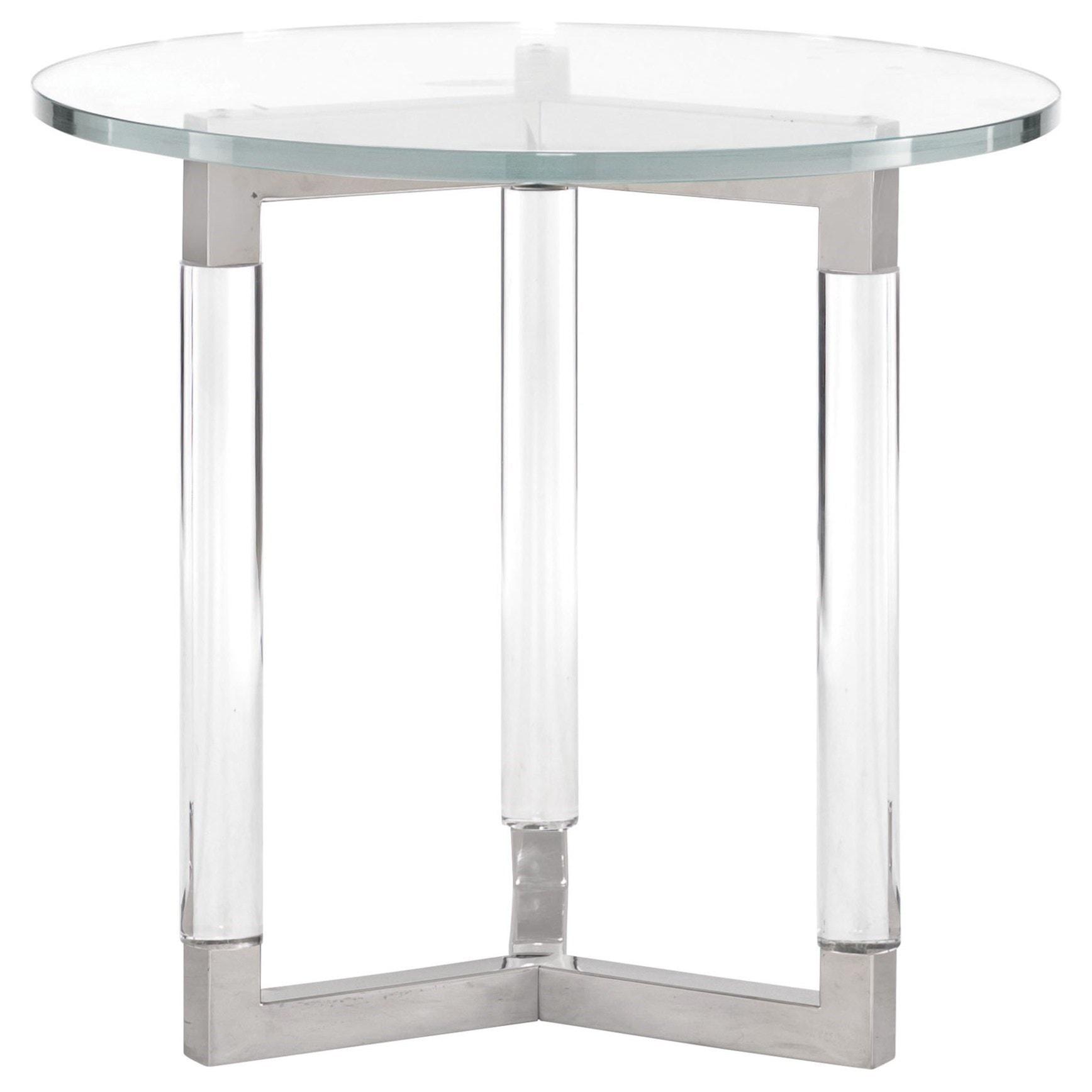 white round end table. Bernhardt Soho LuxeModern Round End Table White
