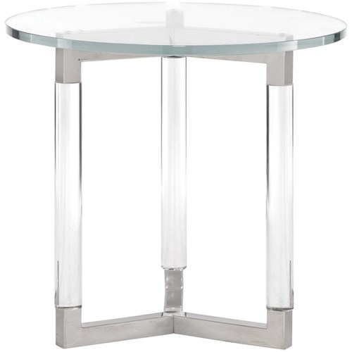 Bernhardt Soho Luxe Contemporary Round End Table With Gl Top And Acrylic Legs