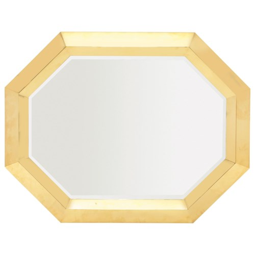 Bernhardt Soho Luxe Transitional Metal Mirror with Polished Brass Frame