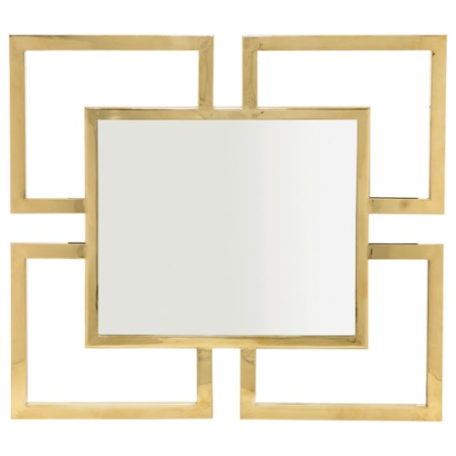 Bernhardt Soho Luxe Contemporary Metal Mirror with Greek Key Design