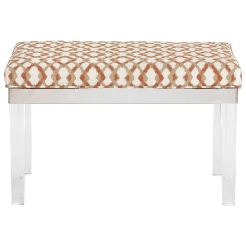 Bernhardt Soho Luxe Contemporary Bench with Acrylic Legs