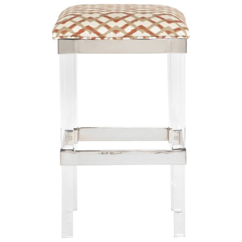 Bernhardt Soho Luxe Contemporary Bar Height Stool with Acrylic Legs