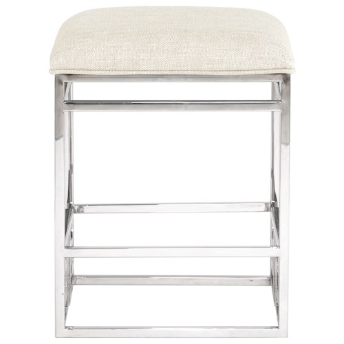 Bernhardt Soho Luxe Contemporary Counter Height Stool with Stainless Steel Base