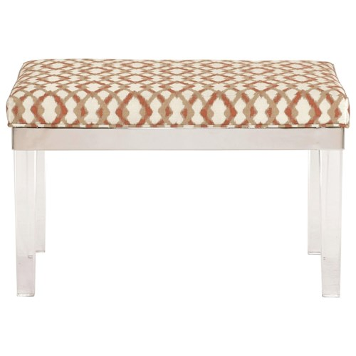 Bernhardt Soho Luxe Contemporary Customizable Bench with Acrylic Legs