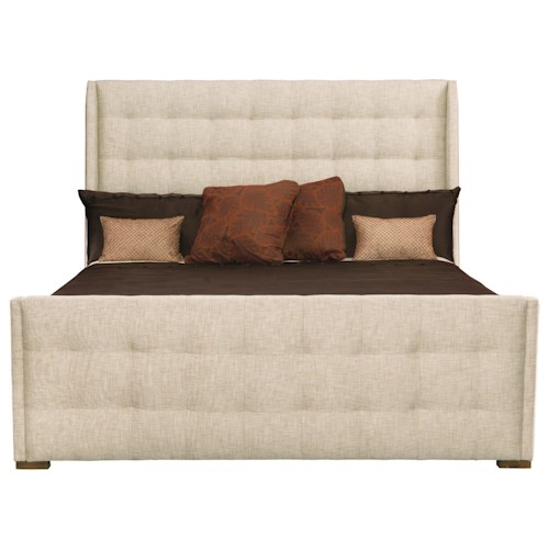 Bernhardt Soho Luxe Customizable Upholstered Sleigh King Bed with Tufting