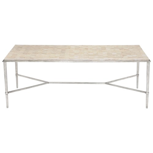 Bernhardt Solange Rectangular Cocktail Table with Herringbone Stone Top