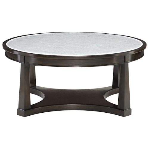 Bernhardt Sutton House Round Cocktail Table with Patterned Silver Eglomise Glass Top