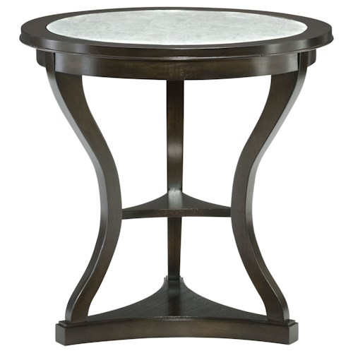 Bernhardt Sutton House Round End Table with Eglomise Glass Top