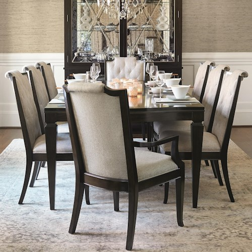 Bernhardt Sutton House 9 Piece Dining Set with Upholstered Chairs ...