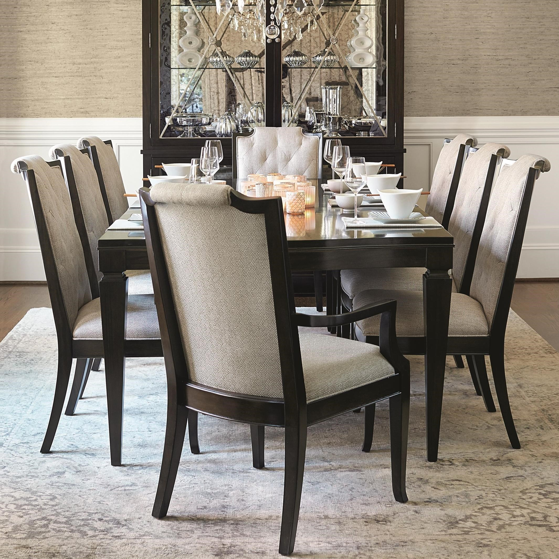 Medium image of bernhardt sutton house 9 piece dining set with upholstered chairs