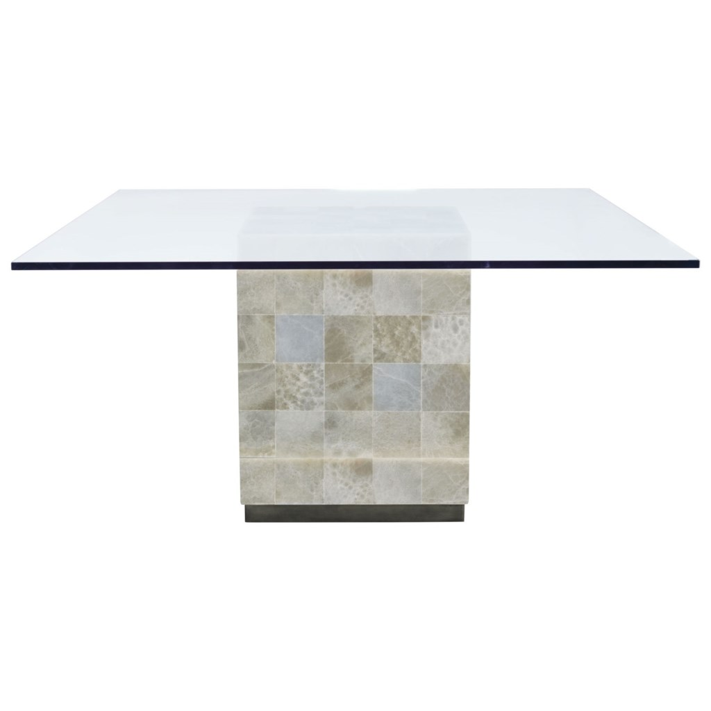 bernhardt trimbelle square glass top dining table stone base