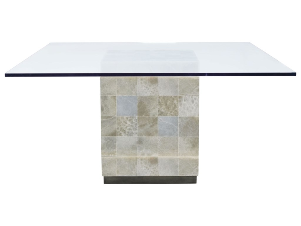 Bernhardt Trimbelle Square Gl Top Dining Table Stone Base