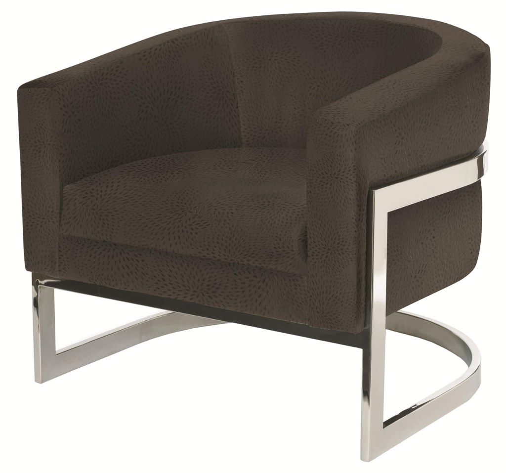 Bernhardt upholstered accents callie chair with metal legs and modern barrel chair style