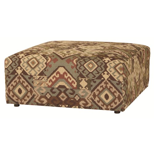 Bernhardt Upholstered Accents Thick Hawthorne Cocktail Ottoman with Smooth Upholstered Sides and Small Wood Feet